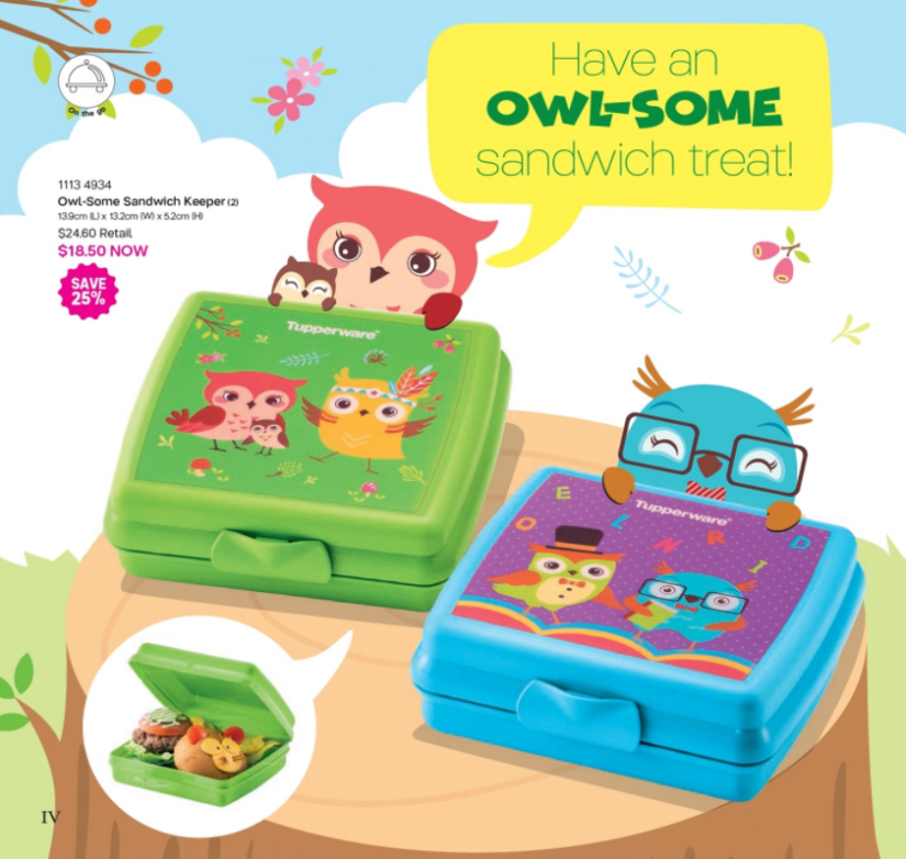 Tupperware kids sandwic keeper (OWL)